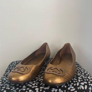 Gucci Gold Bronze Ballerina Flats